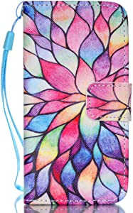 iPhone 5S Case,iPhone 5 Case,iPhone SE Case,[Wrist Strap][Kickstand] Pattern Premium PU Leather Wallet [Card/Cash Slots] Flip Cover for Apple iPhone 5 5S SE [4 Inch] +Crystal Pen (Water Lily)