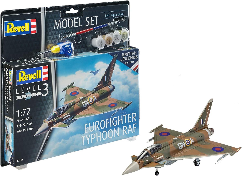 Revell Set British Legends: Eurofighter Typhoon RAF, en Kit Modelo con Base Accesorios, fácil Pegar y para pintarlas, Escala 1: 72 (63900), 22,2 cm de Largo: Amazon.es: Juguetes y juegos