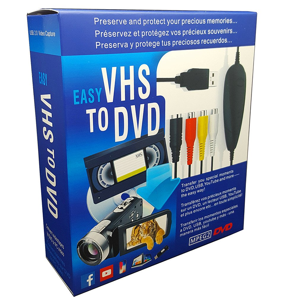 VHS To Digital DVD Converter, USB2 0 Audio/video Capture Grabber Adapter  Device,Transfer VCR TV Hi8 Game S video to DVD,Support Windows