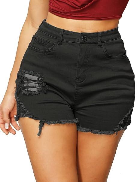 5686d9e936 Haola Women's High Waist Shorts Juniors Summer Stretch Distressed Denim
