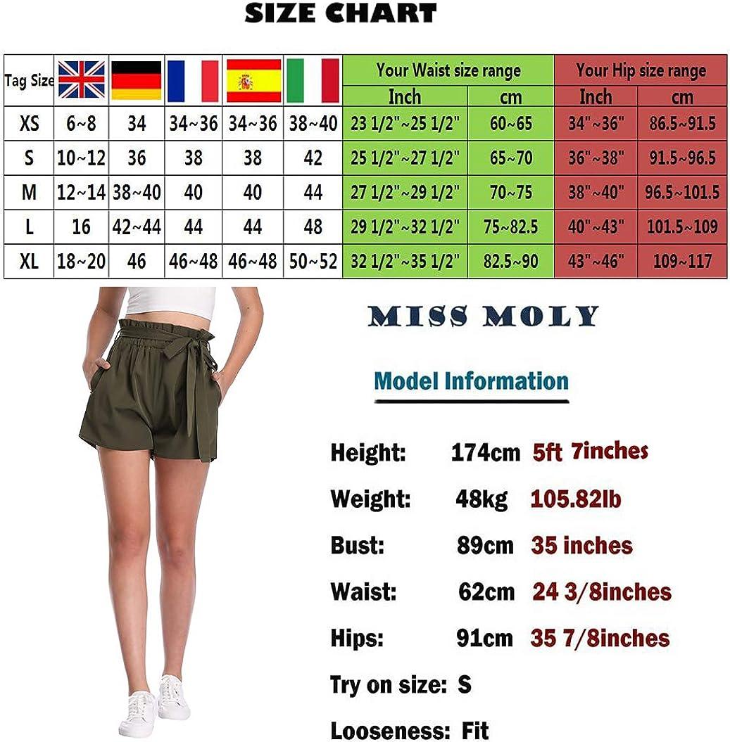 MISS MOLY Damen Sommer Kurze Hose Hohe Taille Gestreiftes Shorts mit Binderg/ürtel