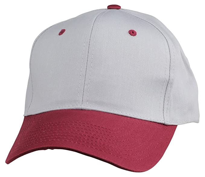 61c745d98aaa9 Blank Hat 6 Panel Cotton Twill Cap in Maroon and Gray at Amazon ...