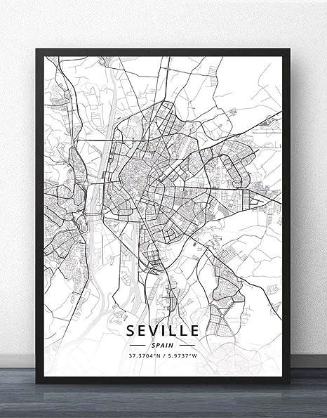ZWXDMY Impresión De Lienzo,España Sevilla Mapa De La Ciudad En Blanco Y Negro Texto Minimalista Abstracto Lienzo Impresión Póster Mural Pintura Oficina De Estudio Decoracion,60×80Cm.: Amazon.es: Hogar
