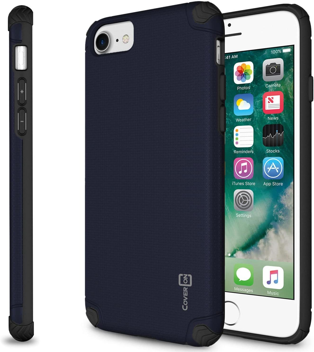 CoverON Slim Grip Designed for Apple iPhone SE Case (2020) / iPhone 8 Case, Dual Layer Hybrid Phone Cover - Navy Blue