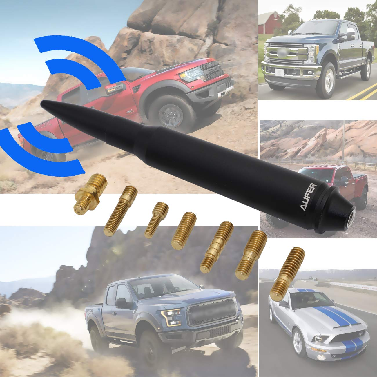 1999-2017 Ford F-250 F-350 Super Duty AUFER 5.7 Aluminum Bullet Antenna Fit for 1980-2017 Ford F-150 /& 1979-2009 Ford Mustang Most Ford Model /&
