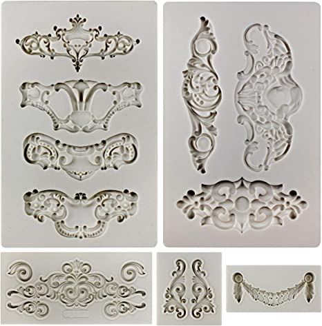 amazon com funshowcase royal crown baroque style ornament silicone molds 5 count art decor filigree and scrollworks home kitchen funshowcase royal crown baroque style ornament silicone molds 5 count art decor filigree and scrollworks