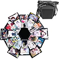 Creative Black Explosion Box,DIY Photo Album Surprise Box,Love Memory Scrapbooking Gift Box for Birthday Christmas Anniversary Wedding Valentine Gifts