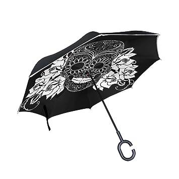 BENNIGIRY Paraguas invertido de Calaveras de Caramelo de Día de los Muertos, Plegable, Reverso