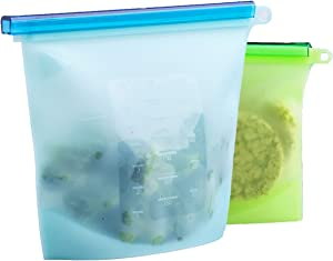 Reusable Silicone Food Storage Bags Large 50 & 30oz Reusable Container for Sous Vide Liquid Snack Sandwich Fruits Vegetables