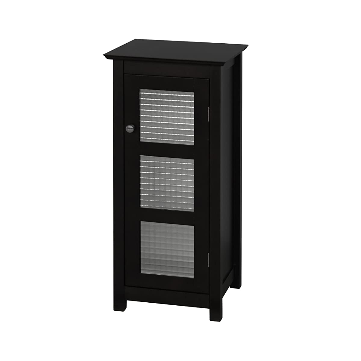 Elegant Home Fashions Chesterfield Collection Shelved Floor Cabinet with Glass-Paneled Door, Espresso
