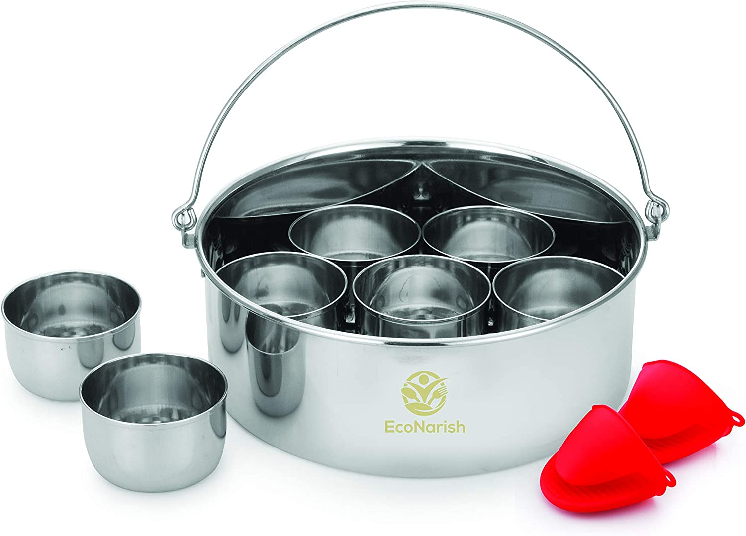 EcoNarish 6QT Cheesecake pan with 7 egg bite cupcake brownies bread pudding dessert molds with removable bottom oven mitts - Compatible with 6QT Instant Pot Accessories