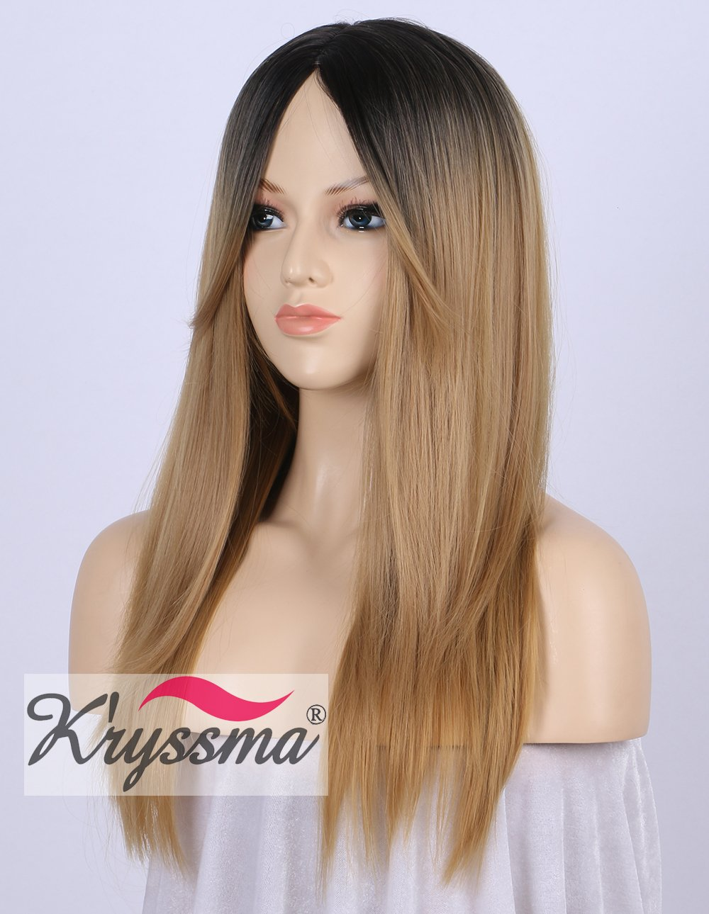 Amazon.com : Kryssma Fashion Ombre Blonde Synthetic Wigs for Women 2 Tone Color Dark Roots Middle Part Long Natural Looking Straight Heat Resistant blonde ...