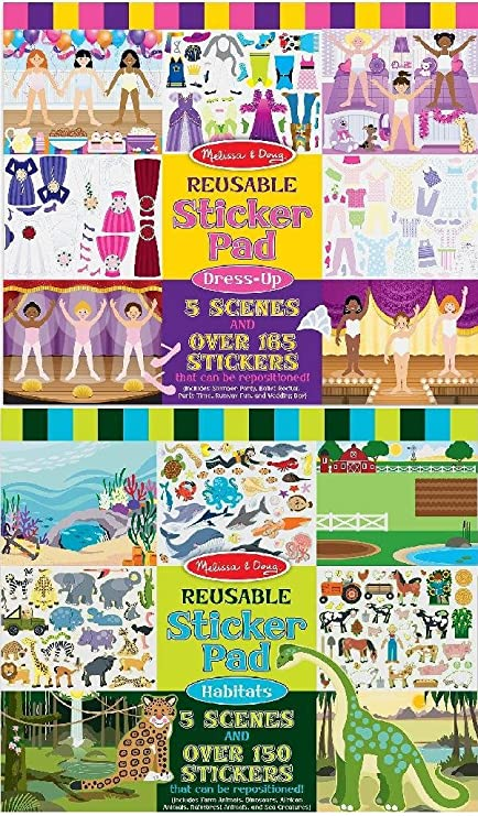 Melissa Doug Dress Up And Habitat Reusable Sticker Pad Bundle