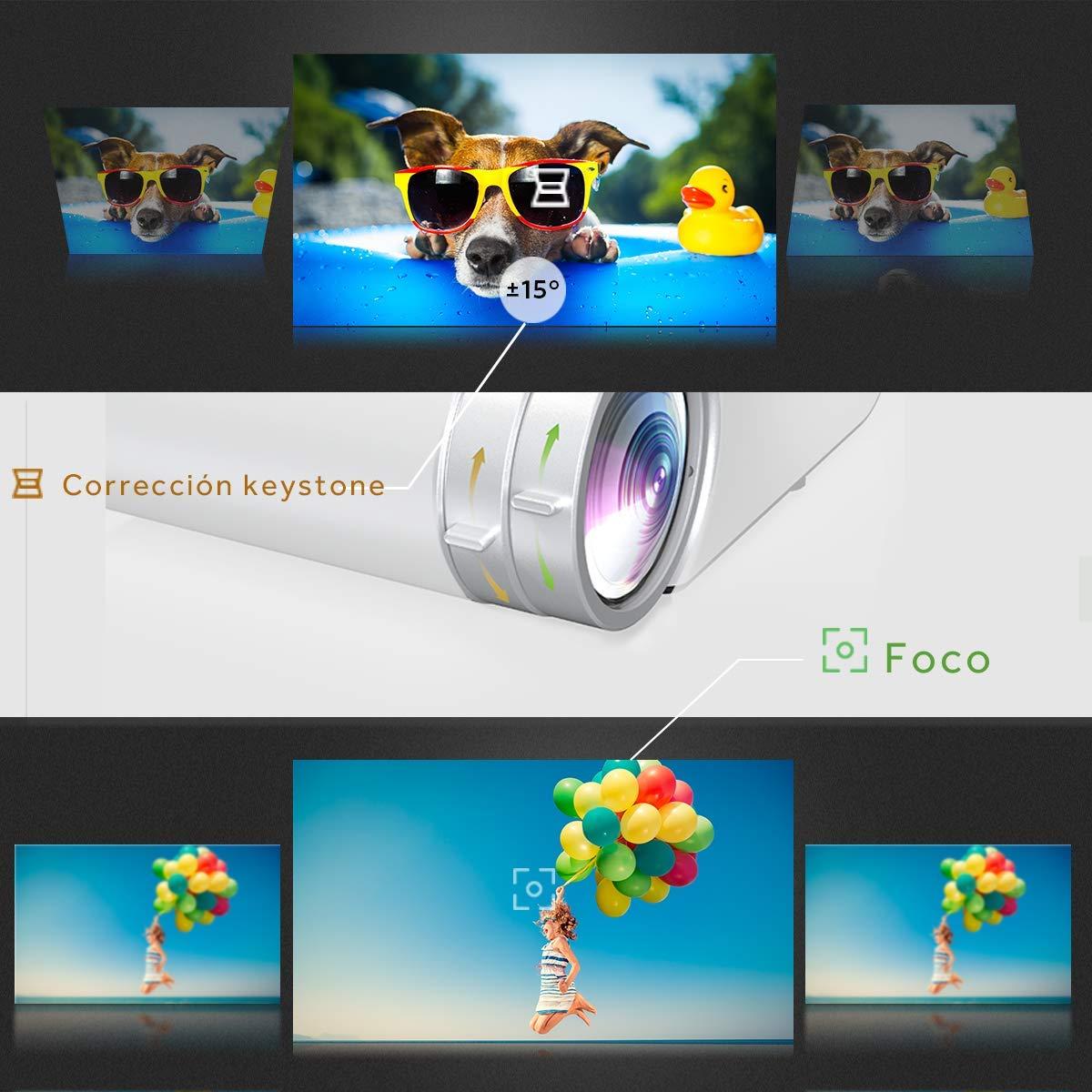 Proiettore Vamvo Videoproiettore Portatile USB Compatibile con HDMI VGA Proiettore Cinematografico allAperto 4000 Lumens con 50,000 Ore Display da 200 Full HD 1080P Supportato AV etc.