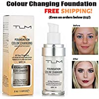 TLM Flawless Colour Changing Foundation 30ml Makeup Base Warm Skin Tone Nude Face Moisturizing Liquid Cover Concealer…