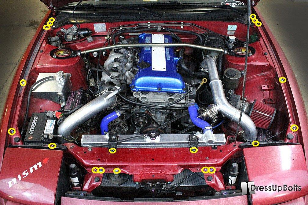 Amazon.com: Titanium Dress Up Bolts (Partial) Engine Bay Kit for Niaasn 240 240sx (S13) (1989-1995) (Gold): Automotive