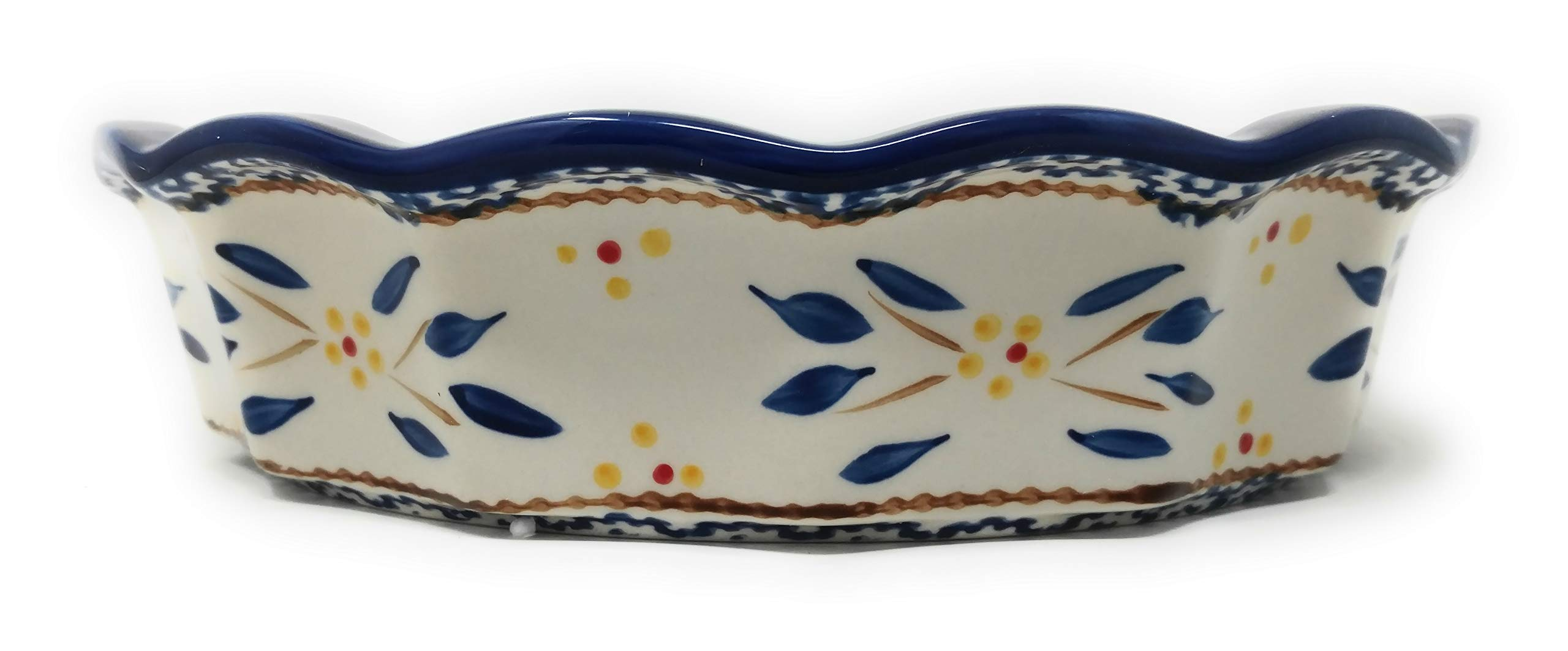 Temp-tations 10'' x 2.25'' Pie Pan w/Cover, Scalloped, Deep Dish Pizza or Quiche (Old World Blue) by Stoneware (Image #3)