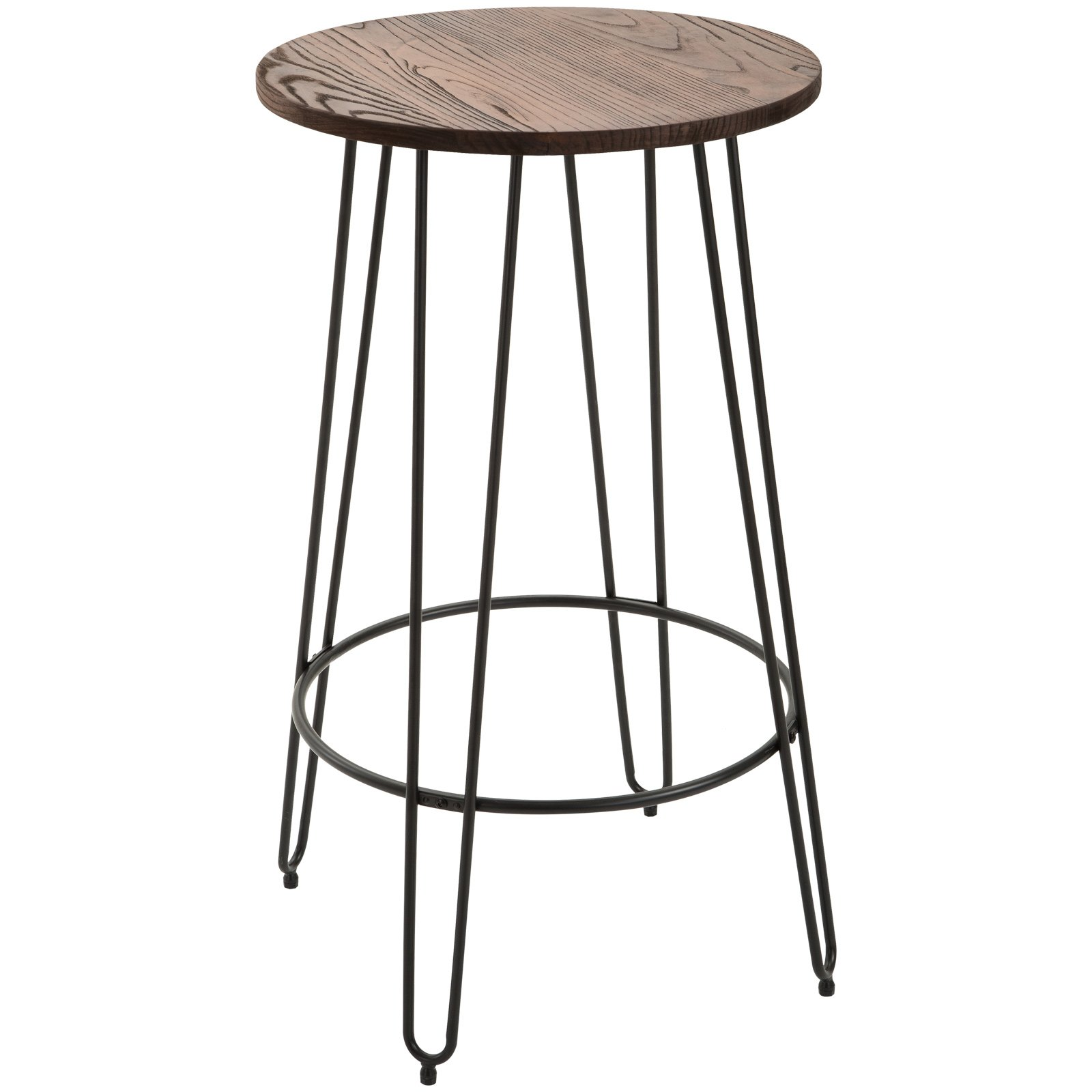 HOMCOM 42'' Retro Elm Wood Round Top Bar Table Pub Bistro Patio Table Lightweight Steel