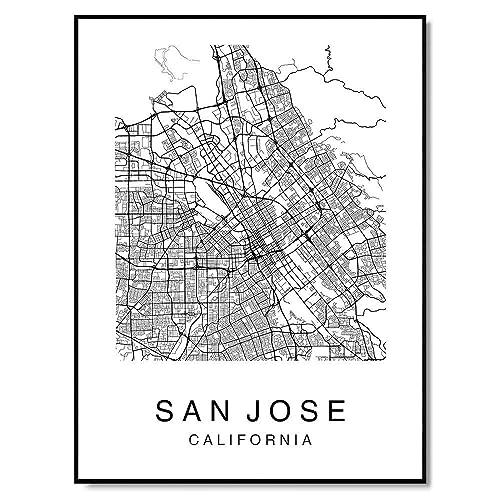 Amazon.com: San Jose Map Wall Art Poster Print California ...
