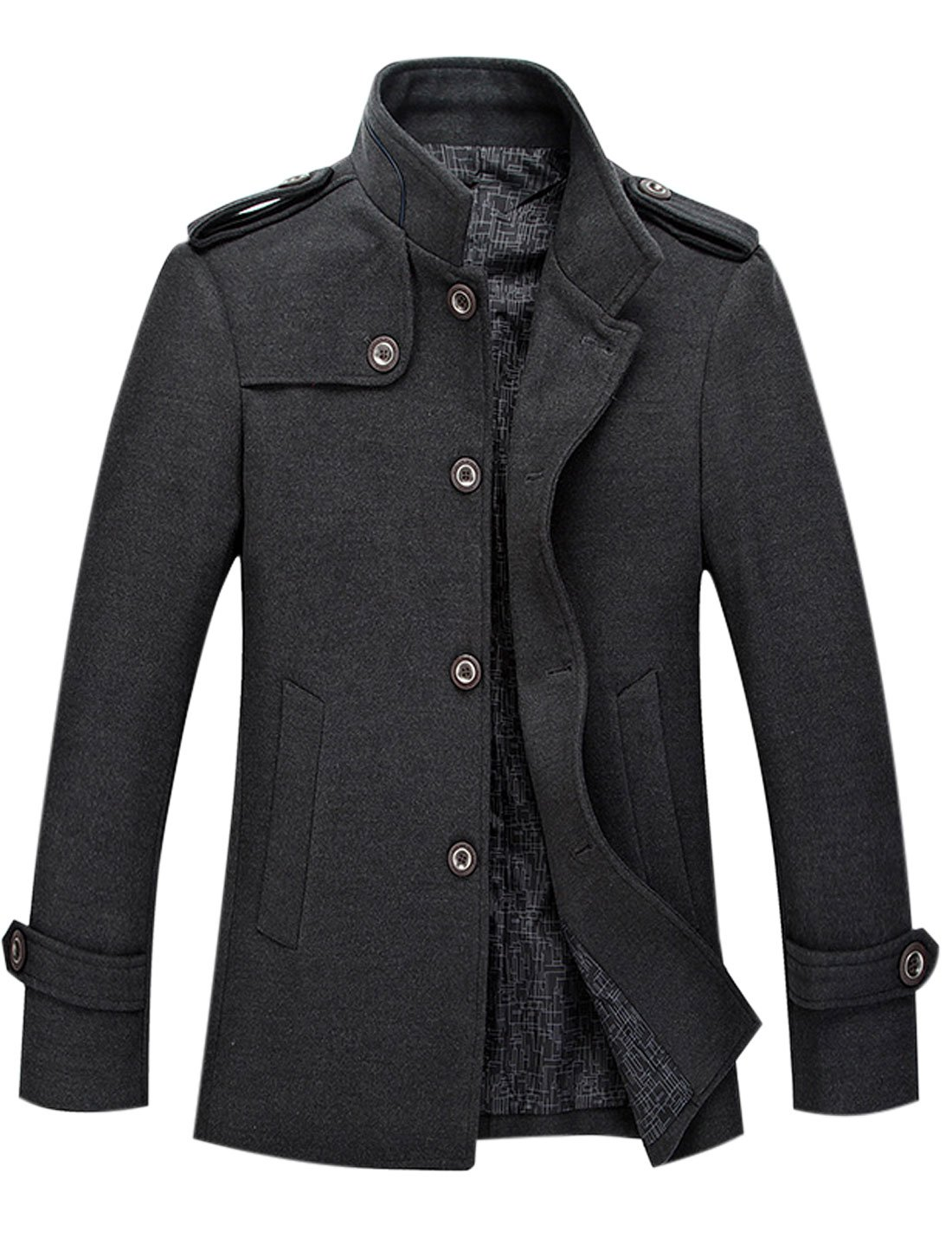 Tanming Men's Stylish Single Breasted Wool Blend Pea Coat Mutiple Colors (Small, Grey) by Tanming