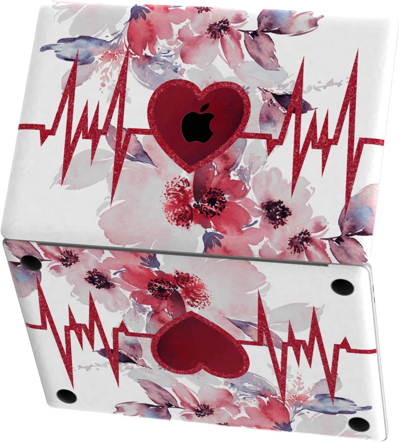 Mertak Vinyl Skin for Apple MacBook Air 13 inch Mac Pro 16 15 Retina 12 11 2020 2019 2018 2017 Nurse Keyboard Decal Doctor Top Design Cute Wrap Heartbeat Clear Sticker Touch Bar Floral Print Flowers