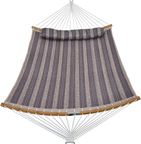 Patio Guarder 14 FT Portable Hammock with Double Size, Quilted Fabric Hammock with Solid Folding Curved Bamboo Spreader Bar, Outdoor Patio Yard Beach Hammock, 450 Lb Capacity, Grey
