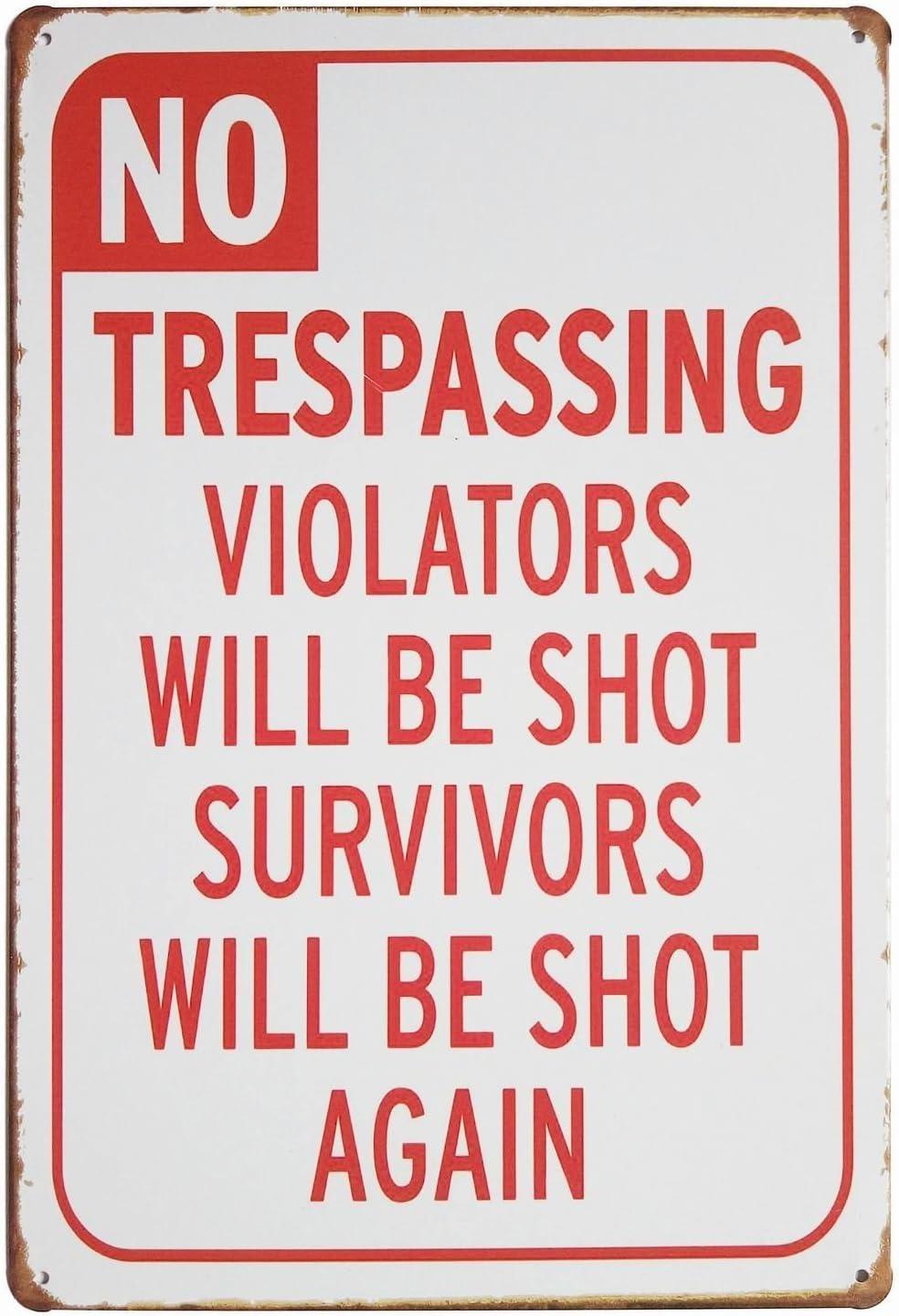 ARTCLUB No Trespassing Violators Will Be Shoot Retro Vintage Tin Sign Fun Saying Wall Decor