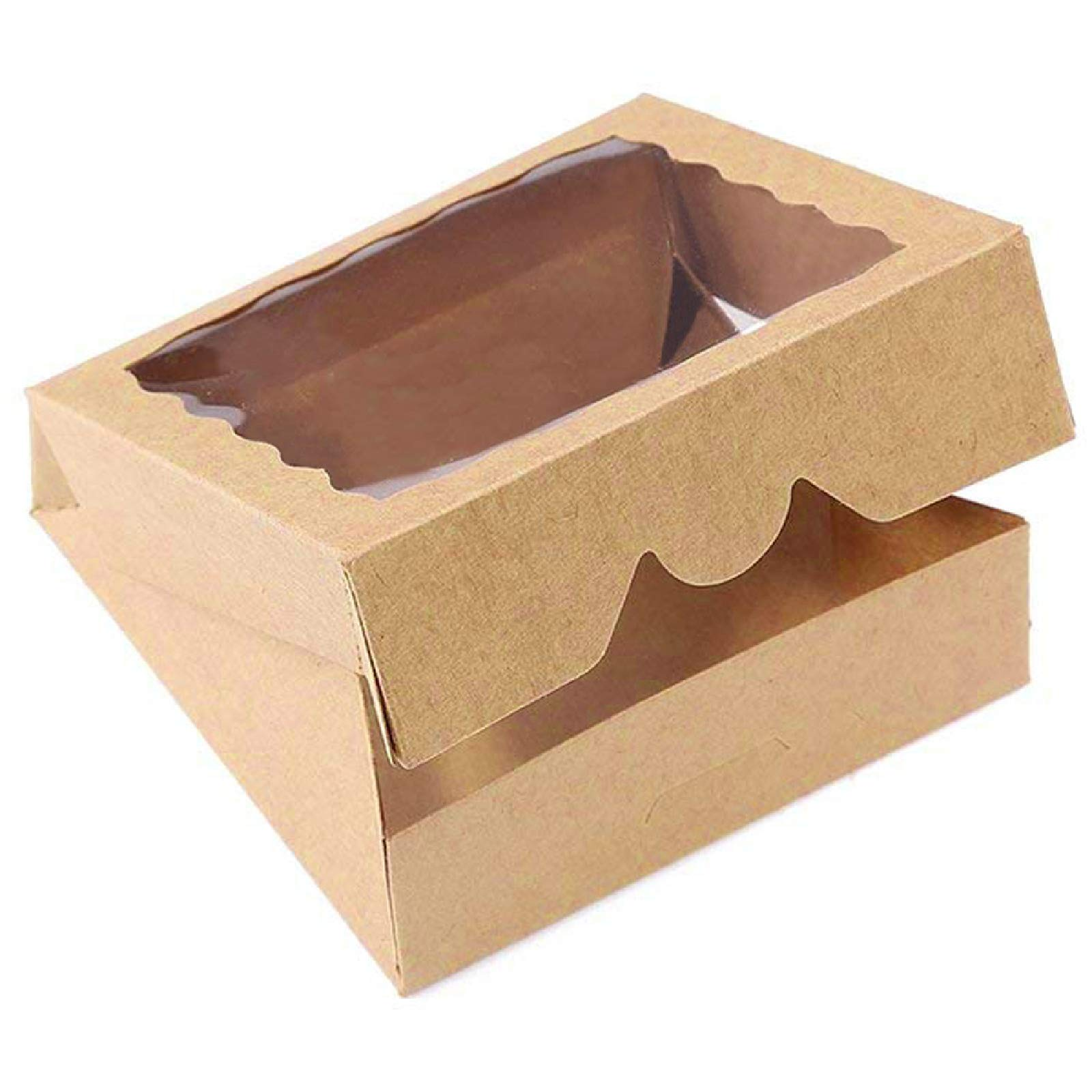 ONE MORE 9inch Brown Bakery Pie Boxes,Large Kraft Cookie Boxes with PVC Window Natural Disposable box 9x9x2.5inch,12 of Pack by ONE MORE