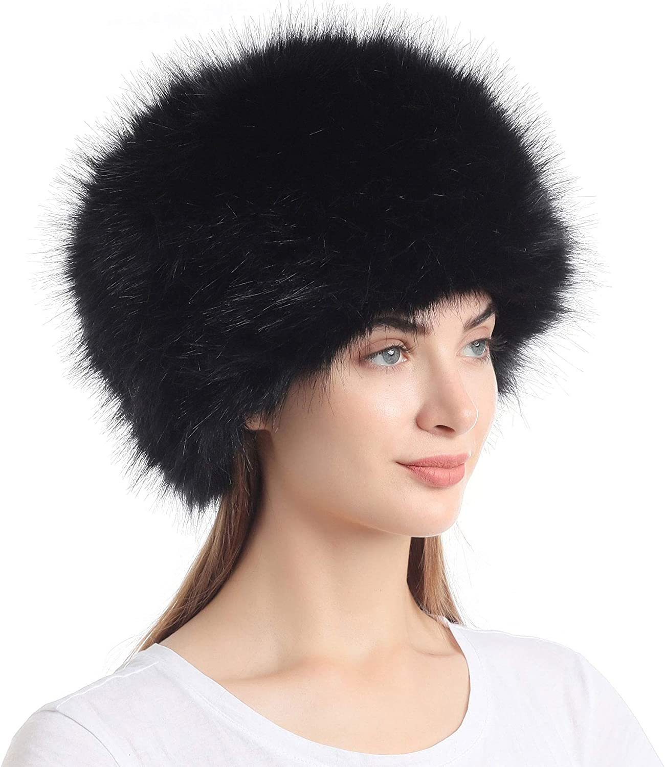 Women's Faux Fur Hat for Winter with Stretch Cossack Russian Style