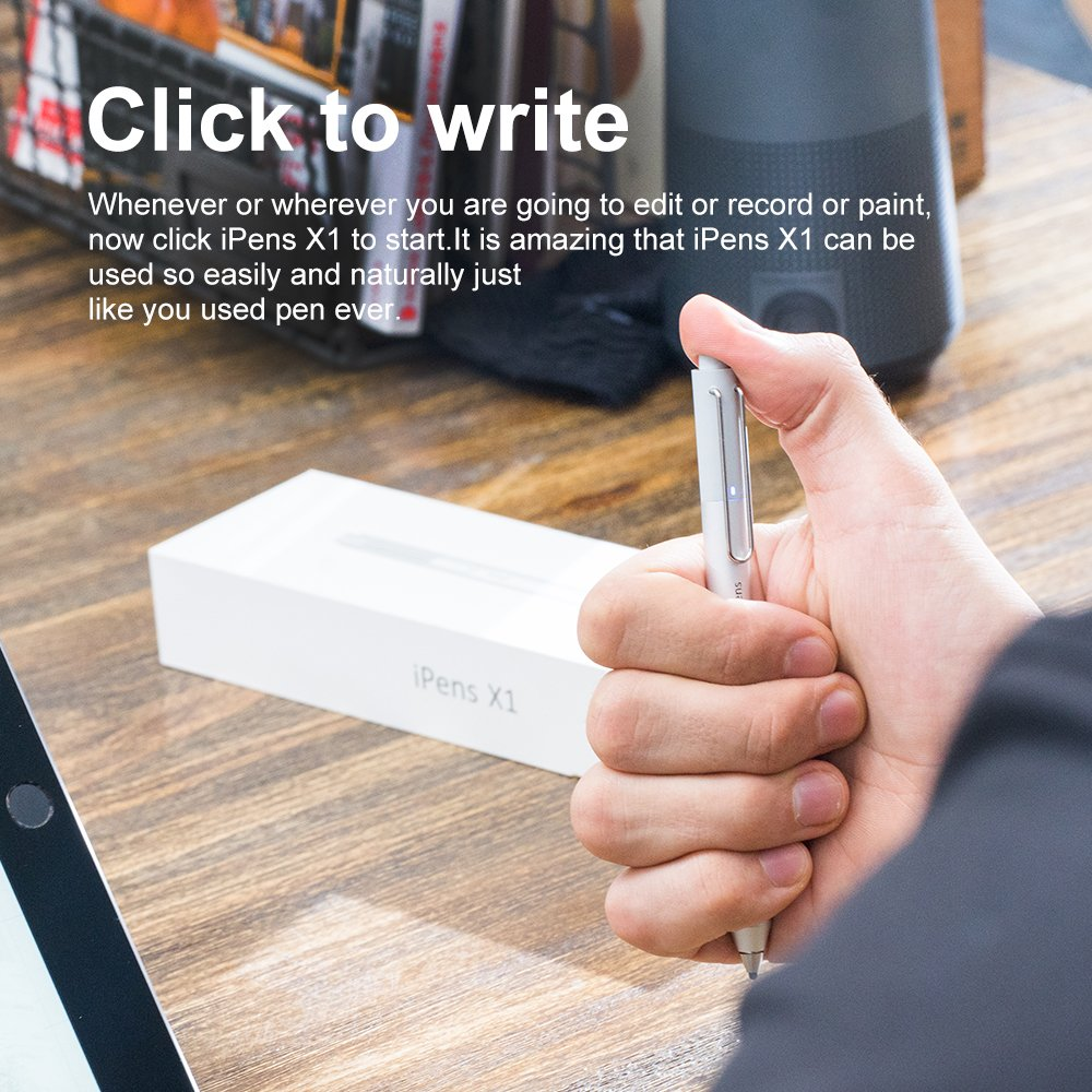 iPens X1 Active Stylus Pen, iPad Pencil Touch Pen, Capacitive Rechargeable Pen Replaceable Fine Point Rubber Tips, 4 Mins Auto Power off, for iPad/iPhone/iPad Pro/iPhone X -Silver by iPens (Image #6)