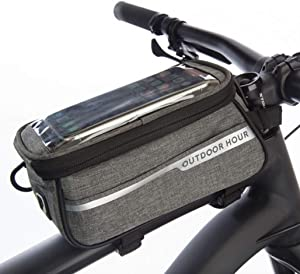 Bike phone holder bag - Can transition into a fanny pack or crossbody bag -Sensitive touchscreen - Water resistant- Top tube bike bag -Fits most iPhone and Samsung phones - Bicycle mount phone pouch
