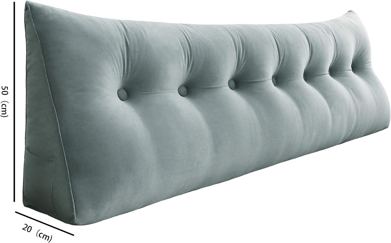 VERCART Suppprt Pillow Back Cushion Triangular Backrest Lumabr Wedge cushions for Sofa Bed Office Chair Velvet 45cm Navy Blue 18inches
