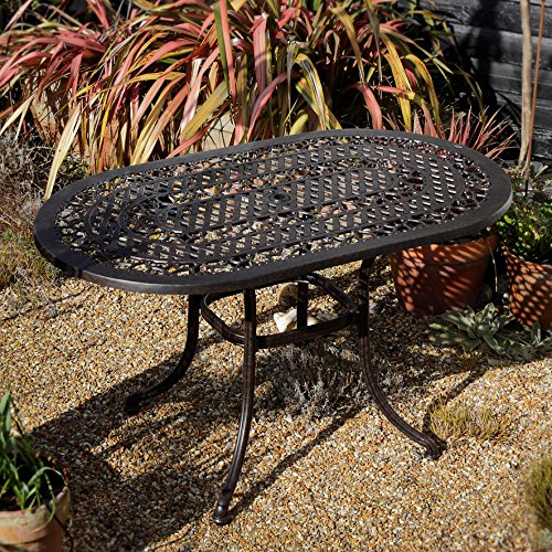 Gartengarnitur Elise 136 x 81cm Ovale Aluminium Gartensitzgruppe Gartenmöbel Set - 1 ELISE Tisch + 4 MARY Stühle