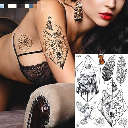 adgkitb 3 Piezas geométricas León árbol Luna Estrellas Tatuajes ...