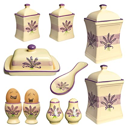 5e2f44bbeb83 City to Cottage Handmade Lavender Floral Purple and Cream Ceramic Kitchen  Serving, Storage Set of