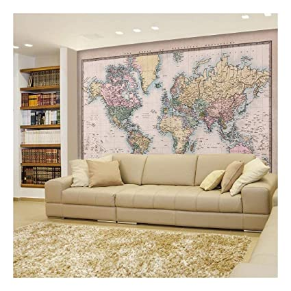 wall26 - Antique Full Color Mercator Projection Political Map of The on model of map, set of map, photography of map, drawing of map, map of map, animation of map, texture of map, element of map, depression of map, shape of map, scale of map, type of map, view of map, orientation of map,