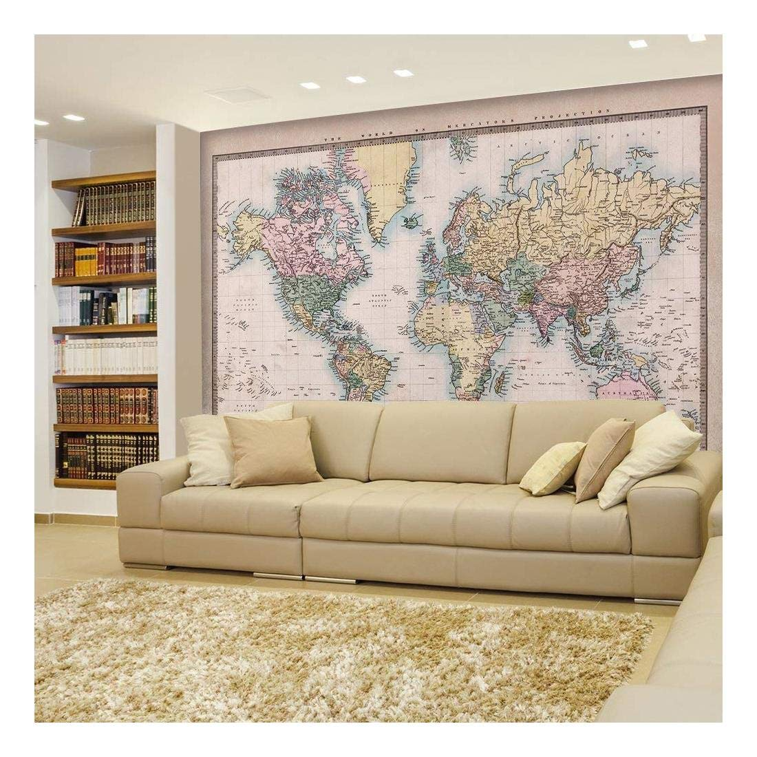 wall26 - Antique Full Color Mercator Projection Political Map of The World Illustration - Wall Mural, Removable Sticker, Home Decor - 100x144 inches