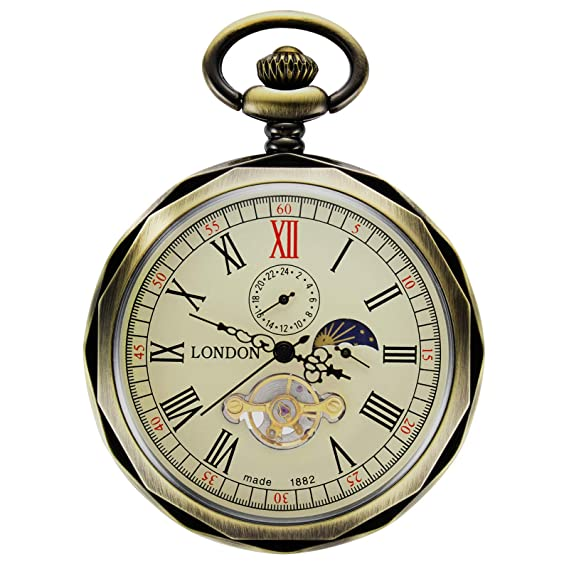 Treeweto - reloj de bolsillo para hombre, con números romanos de bronce, maquinaria al
