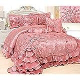 Tache 6 Piece Faux Satin Pink Royal Dreams Comforter Set, Queen