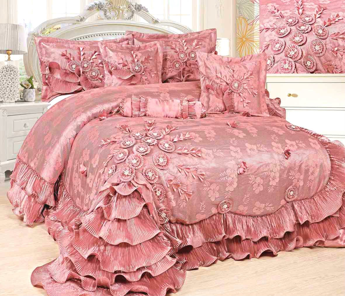 Tache 6 Piece Faux Satin Pink Royal Dreams Comforter Set, Queen