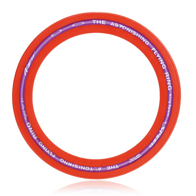 Arshiner Frisbee Anneaux Sprint Disque Volant Frisbee Enfants Sport Jeu Vacances Plage Extérieur Jeu de lancer-Rouge