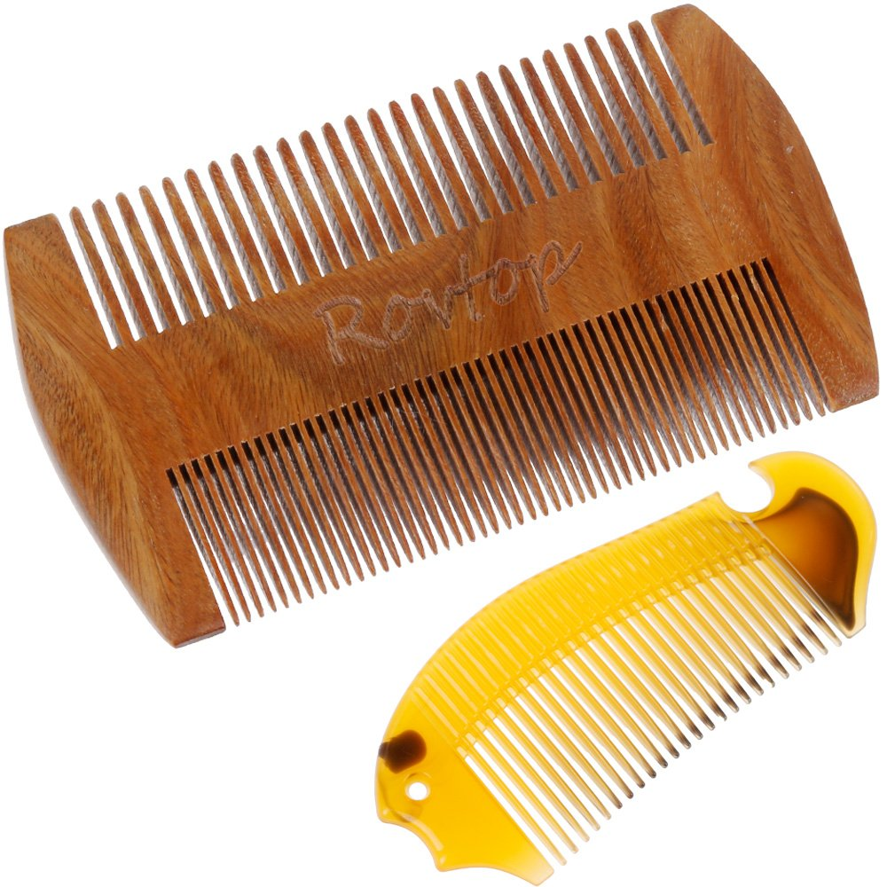 Rovtop Round Beard Brush and Comb, Boar Bristles Beard Brush Perfect for Short Medium Long Beard Comb Set Kit and for Men's Fashion and Health RBB2-JKRPUK01