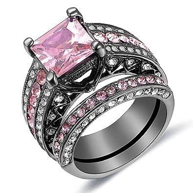 Carffany Pink Diamond Engagement Ring Set Princess Round Cut Created Women  Luxury Wedding Band Ring Us