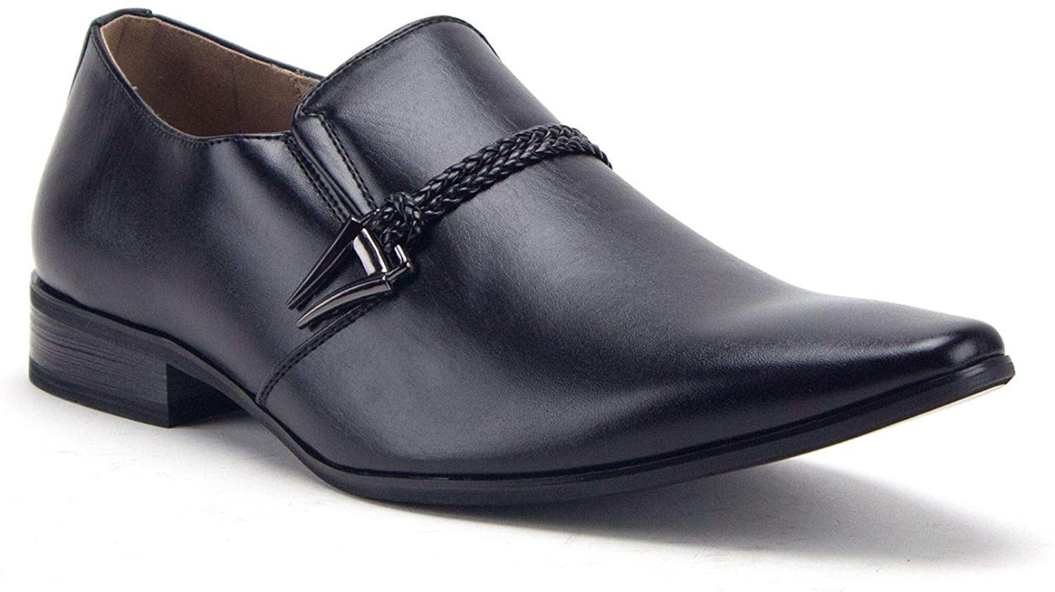 Jazame Men's 98105 Urban Pointed Toe Slip On Belted Loafers Dress Shoes