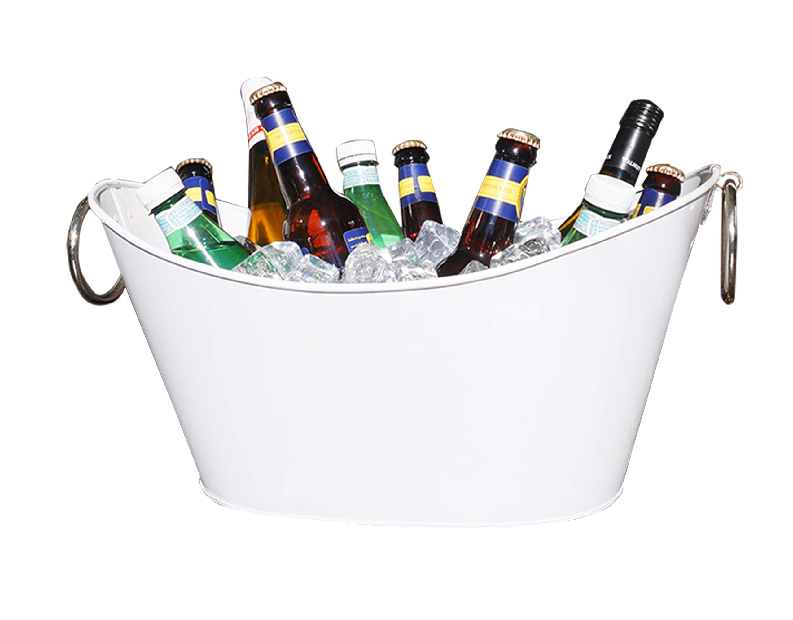 Modern White Waved Beverage Tub & Wine Chiller w/Silver Loop Handles - 10 Quart
