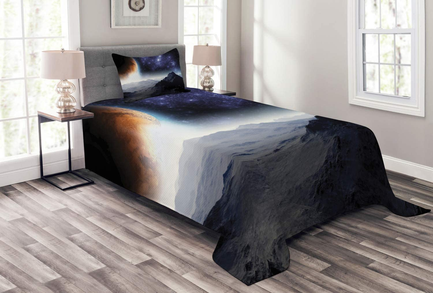 Ambesonne Outer Space Bedspread, Science Fiction of Galaxy Nature Milkyway Atmosphere Planet Abstract, Decorative Quilted 2 Piece Coverlet Set with Pillow Sham, Twin Size, Purple Black