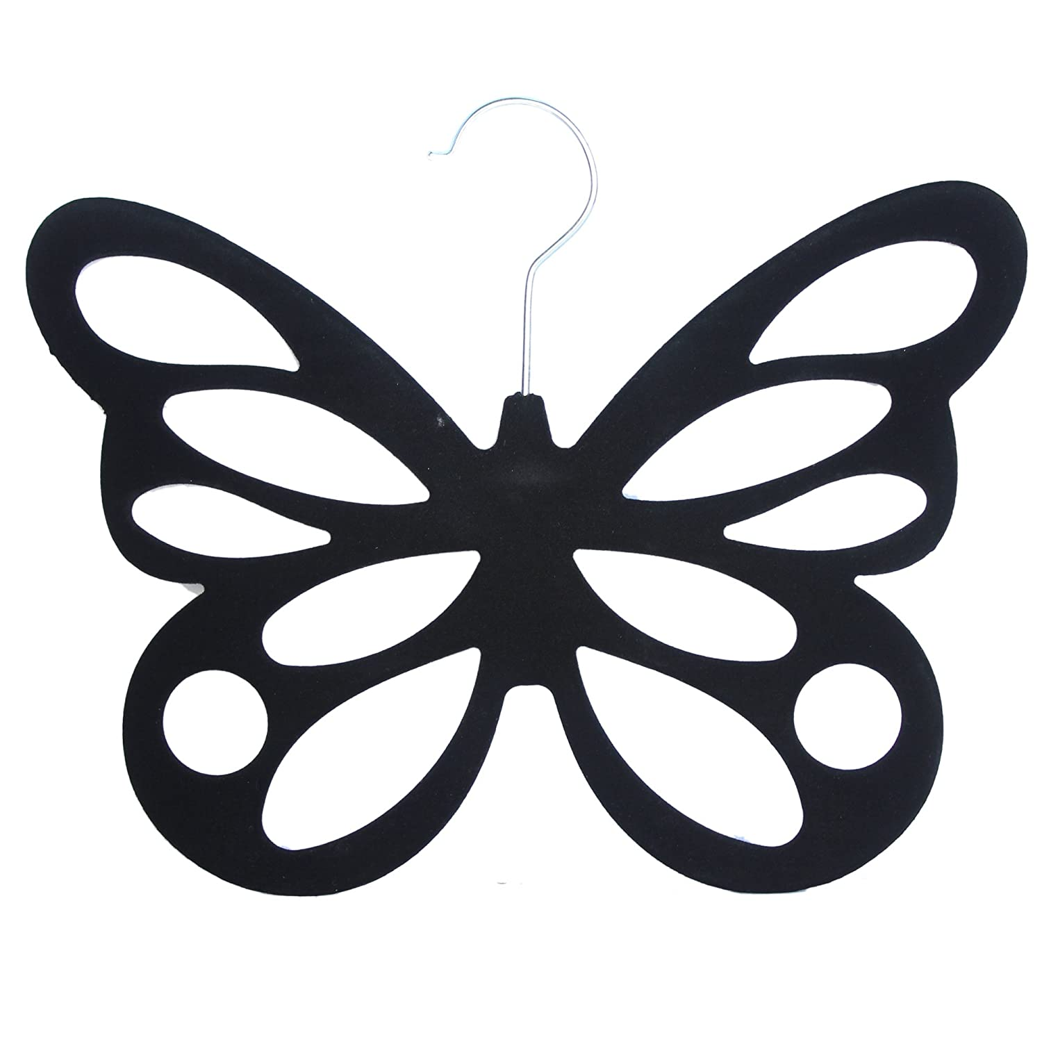 West5Products Black Butterfly Design Flocked Scarf Hanger