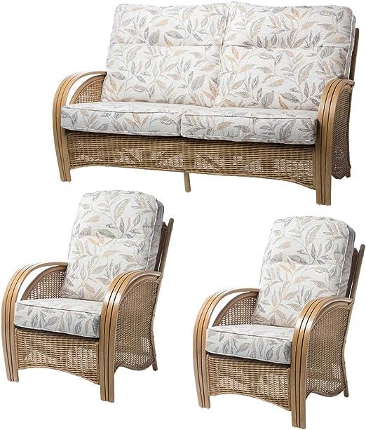 Desser Manila - Juego de Muebles de jardín de ratán, sofá de 3 plazas y 2 sillones de Mimbre para Interior y Exterior, con Cojines Fabricados en el Reino Unido: Amazon.es: Hogar