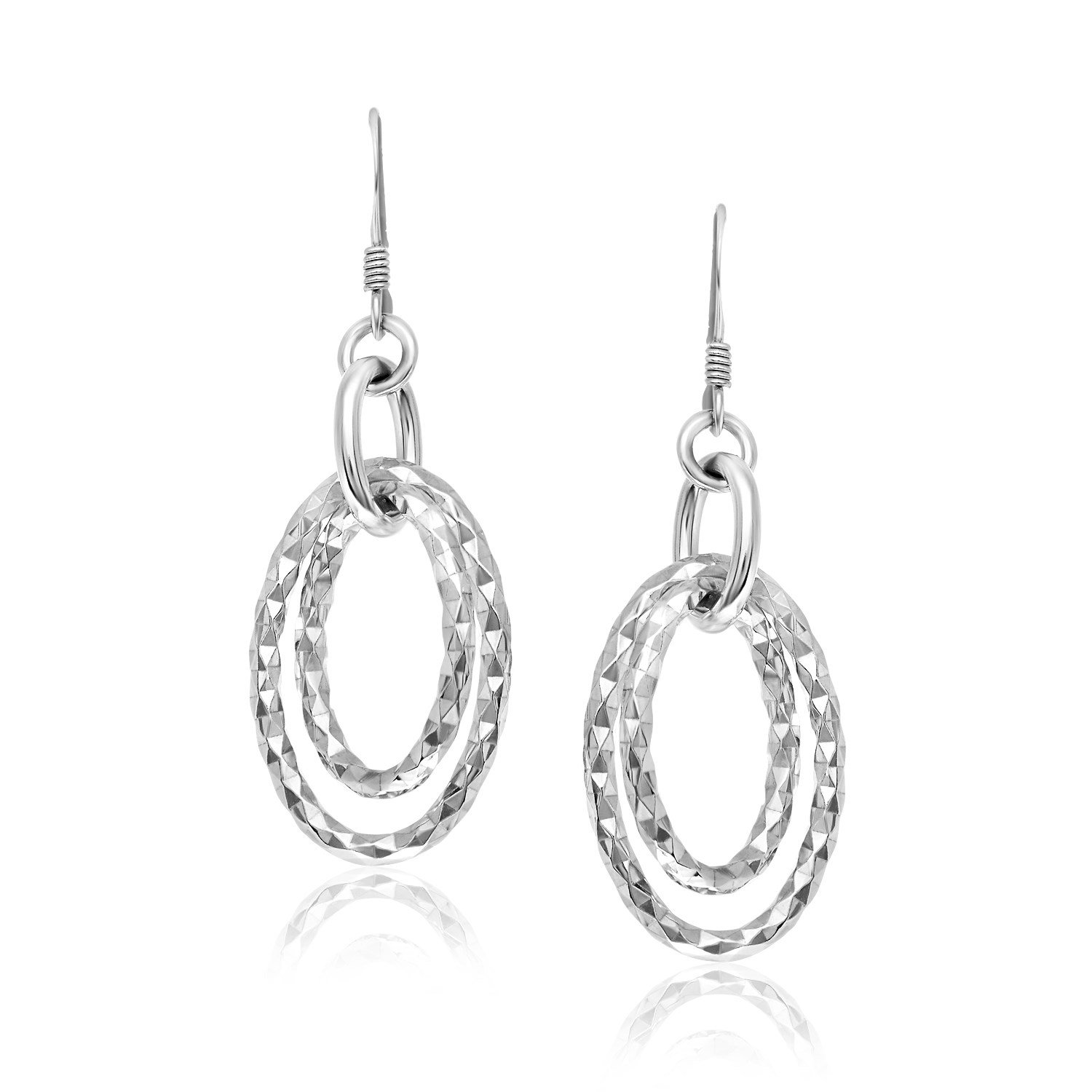 Sterling Silver Textured Dual Open Oval Style Dangling Earrings by Jewels By Lux