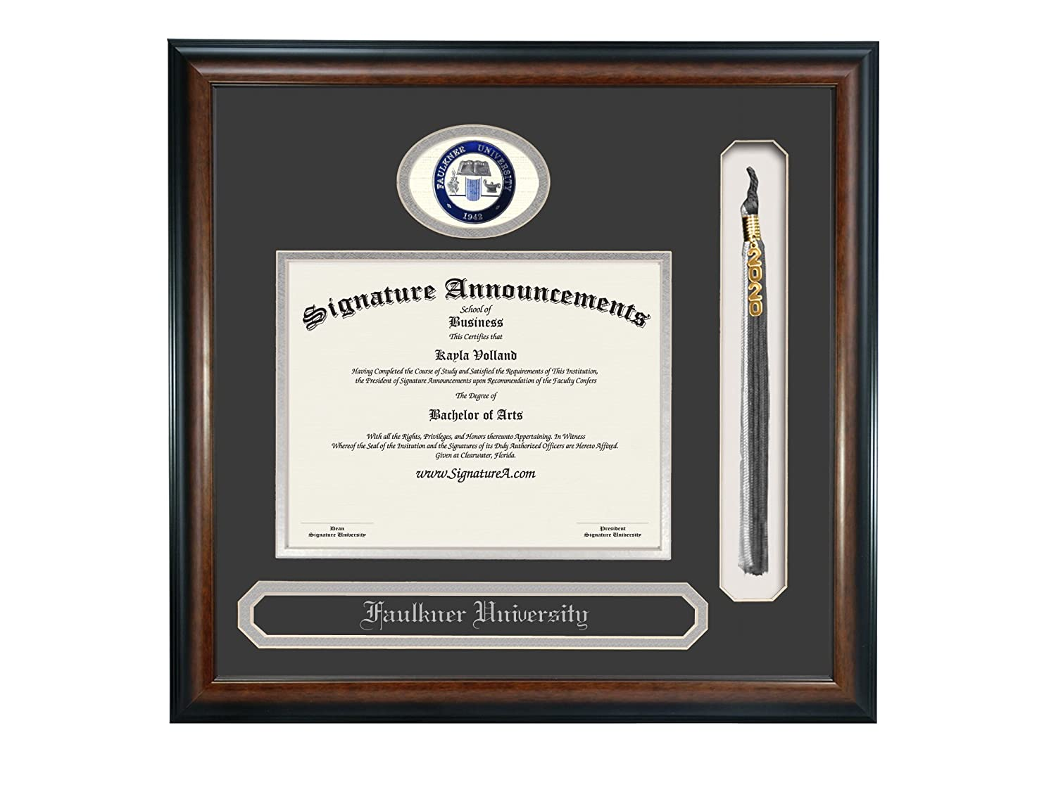 Professional//Doctor Sculpted Foil Seal Signature Announcements Faulkner University Undergraduate Name /& Tassel Graduation Diploma Frame 16 x 16 Matte Mahogany